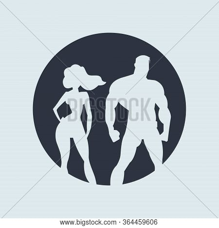 Superhero Couple. Silhouette Man And Woman Superheroes. Vector Illustration In Round Dark Color