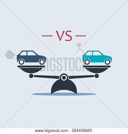 Electric Car Vs Gasoline Car On Scale. Vector Symbol In Flat Style