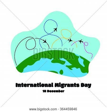 Move Plane Fight Migrant. International Migrants Day Global Migration Concept Illustration 18 Decemb