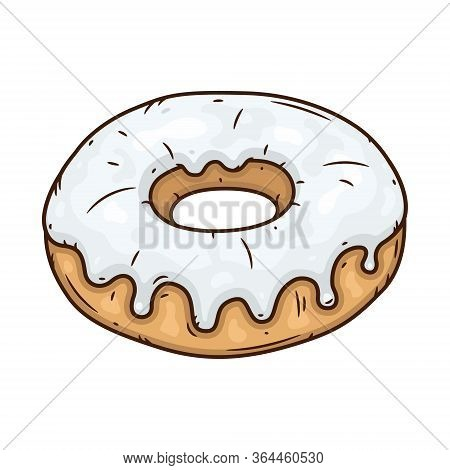 Donut With White Glaze. Donut With White Icing.