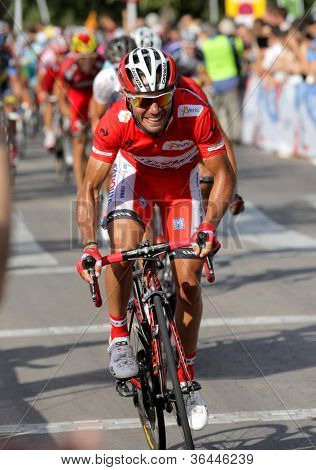 BARCELONA - AUG 26: Katusha Team cyclist spanish Joaquim Purito Rodriguez rides lider during the Vuelta Ciclista a Espana cycling race in Barcelona on August 26, 2012