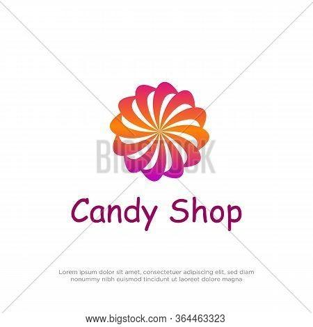 Lollipop Candy Shop Logo Design Vector, Circle Lollipop Logo Inspiration