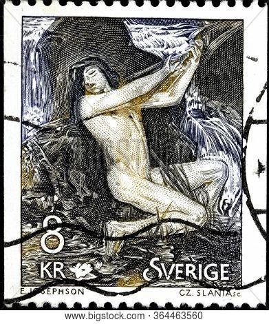 02 10 2020 Divnoe Stavropol Territory Russia Postage Stamp Sweden 1980 Necken, The Spirit Of The Wat
