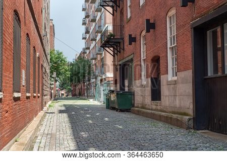 Cobblestone street in downtown Philadelphia, Pennsylvania.