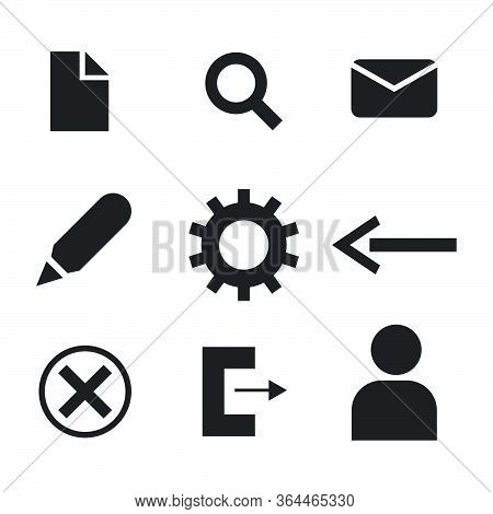 Computer Digital Icons Symbols. Set Of File Search Mail Email Pen Edit Settings Gear Arrow Back Exit