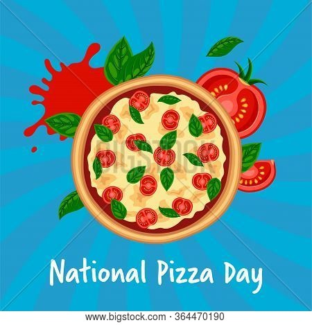 National Pizza Day Design Concept. Fresh Tasty Margherita With Tomato, Cheese, Basil On Blue Striped