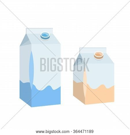 Box Of Milk. High And Low Carton With Milk.