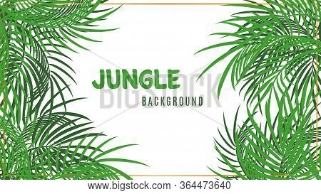 Jungle Background. Green Tropical Palm Leaves Backdrop. Vector Poster With Gold Frame And Plants Iso