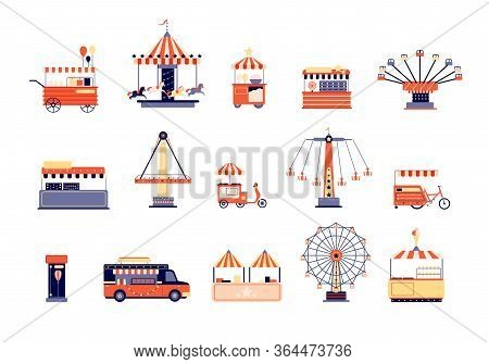 Amusement Park Icons. City Attractions Entertainment. Flat Coaster And Ferris Wheel, Carousels Food