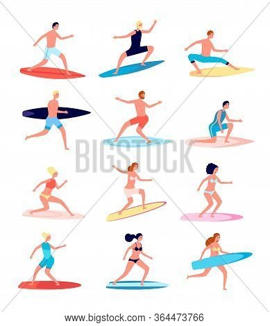 Surfers. Funny People, Female Surfer Standing On Surfboard. Happy Guy In Beachwear. Active Surfing B
