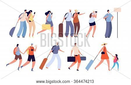 Travel People. Travellers Characters, Person With Camera. Isolated Adult And Young Tourist With Suit
