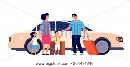 Happy Travel. Family Luggage, Summer Happy Trip. Car To Airport Man Mother Daughter. Travellers With