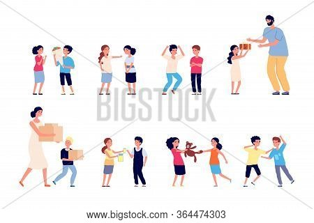 Bad Behavior. Bad Boy Girl. Bully Child Has Conflict. Little Friends Quarrel, Bullying And Arguing,