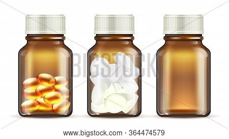 Medicine Glass Bottles. Realistic Pills Bottle. Isolated Transparent Medication Packaging Vector Moc