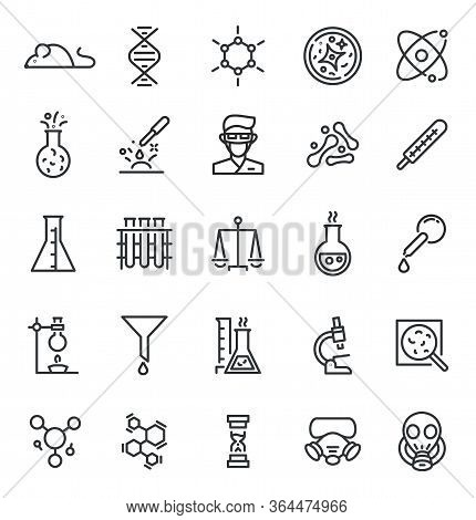 Chemistry Lab Icon. Science Laboratory, Equipment Line Sign. Microscope, Dna Experience Virus Resear