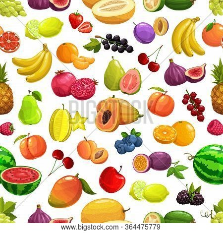 Vector Pineapple And Peach, Banana And Watermelon Tropical Fruit And Berries Seamless Pattern Backgr