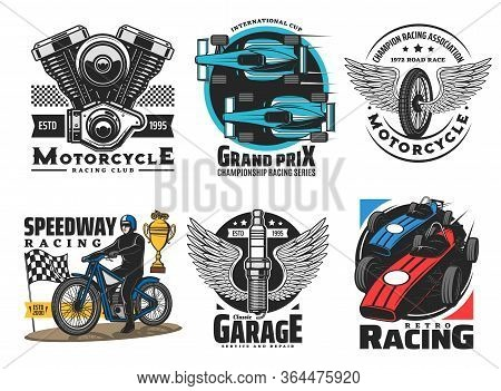 Speedway And Motor Racing Sport Club Vector Icons. Speedway And Motor Races Championship, Wheel And