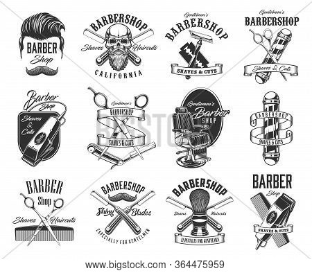 Barbershop, Shave And Hairdresser Vector Icons And Symbols. Man Haircut Hipster Labels. Barber Shop