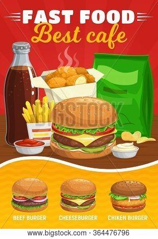 Fast Food Burgers Menu. Hamburger And Cheeseburger Meals, Soda Drink And French Fries Vector. Fastfo