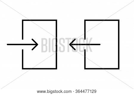 Log In And Log Out Arrows Set In Square Template. Isolated Illustration Of Login And Logout From Acc