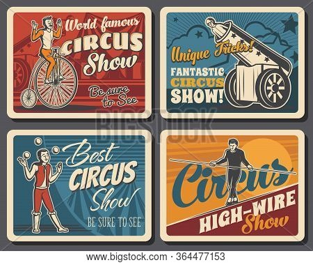 Circus Big Top Chapiteau Or Shapito, Funfair Carnival Show. Vector Retro Poster Of Big Top Circus Pe