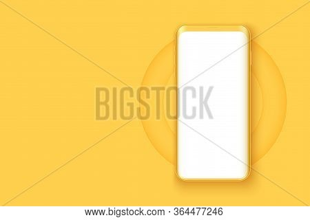 Smartphone Layout Presentation Mockup In Yellow Color. Example Frameless Model Mobile Phone With Tou