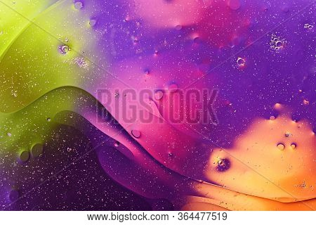 Bubbles, Smears On Water Surface, Colorful Texture, Background For Screensavers