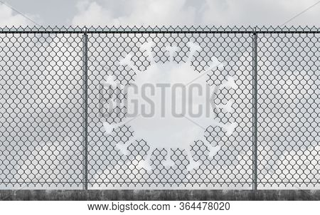 Virus Freedom And Lockdown Escape Concept As A Chain Link Fence With A Hole Shaped As A Contagious V