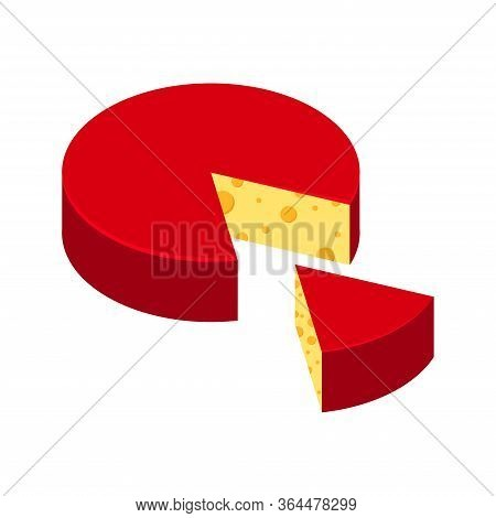 Cheese Red Wheel With Sliced Piece Of Cheese Vector Icon Isolated On White Background. Fresh Diary P