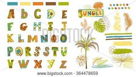 Font And Elements For The Design Of Prints In A Naive Style With Tropical Palm Trees