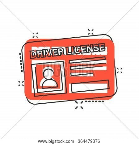 Driver License Icon In Comic Style. Id Card Cartoon Vector Illustration On White Isolated Background