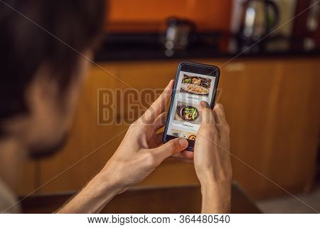 Man Orders Food For Lunch Online Using Smartphone