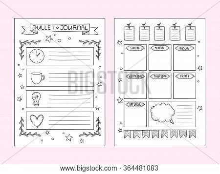 Bullet Journal Pages. Vector Design Templates Of Hand Drawn Notes And Dividers Frames Organizer Or P