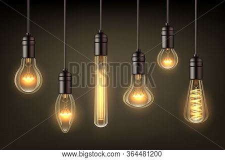 Glow Realistic Lamps. Incandescent Light Hang Bulb Wire Vector Illustrations Set. Light Bulb Incande