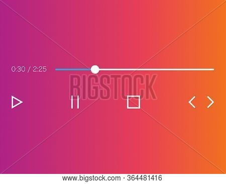 Audio Player Mockup In Gradient Background And Flat Icons. Music Interface With Play, Pause, Stop, N