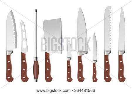 Knives. Butcher Professional Sharp Handle Knives Kitchenware Restaurant Accessories For Cook Vector