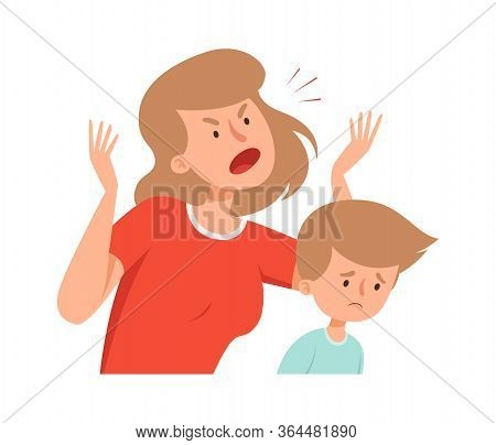 Domestic Violence. Angry Mother, Sad Boy. Bullying And Abusing Behavior. Woman Scream On Son Vector