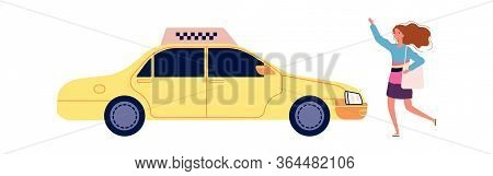Girl Catches Taxi. Happy Cartoon Female With Bag Stops Yellow Auto. Isolated Cartoon Woman And Car V
