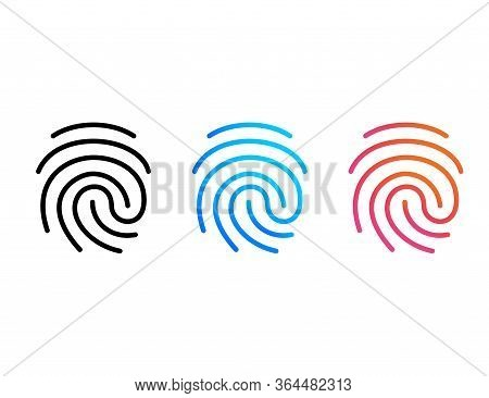 Fingerprint Set Icon In Black, Blue And Orange Design. Identity With Thumbprint Access. Press Or Tou