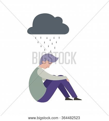 Sad Man. Depression, Mental Disorder People. Isolated Boy And Grey Rainy Cloud. Flat Frustrated Male