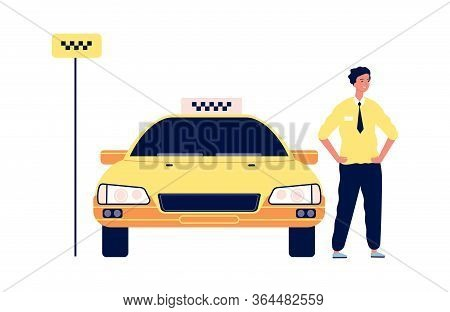 Taxi Service. Driver Stand Near Yellow Car. Isolated Happy Man Near City Transport. Taxi Stop Vector