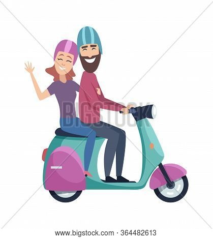 Travellers On Scooter. Happy Tourists Riding Motorbike. Isolated Flat Man Woman In Helmets Vector Il