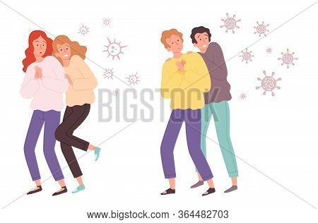 People Afraid Of Viruses. Microbes Attack Guys And Girls. Bacteria Fly On Adults Or Teenagers Vector