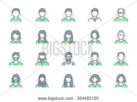 People Avatar Line Icons. Vector Illustration Included Icon As Man, Female, Muslim, Senior, Adult An