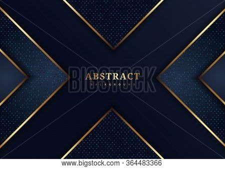 Abstract Luxury Dark Blue Background Overlapping With Luxury Triangles Pattern And Gold Lighting Lin