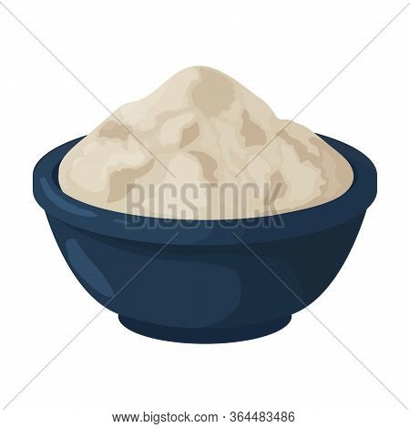 Bowl Flour Vector Icon.cartoon Vector Icon Isolated On White Background Bowl Flour.
