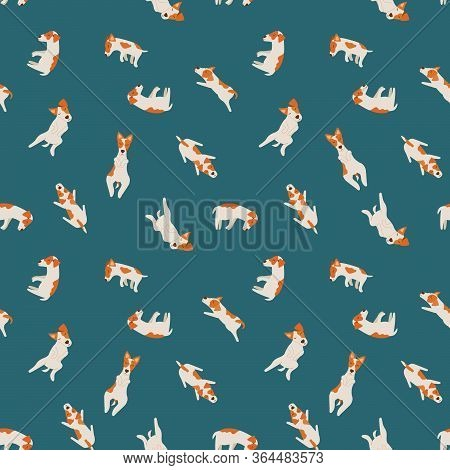 Сute Jack Russell Terriers. Pattern With Sleeping Dogs In Different Poses. Vector Cartoon Illustrati