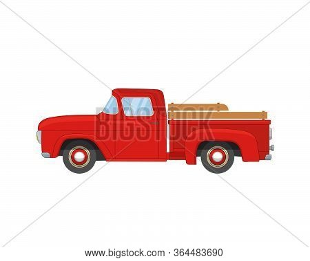 Old Farmer Red Retro Pickup Truck Isolated On White Background. Vintage Transport Car. Flat Vector I