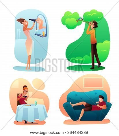 People Hobbies Color Illustrations Set. Different Interests, Activities Concept. Home And Outdoor Re