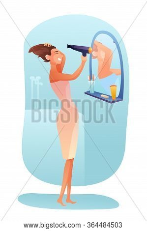 Woman Drying Hair Vector Illustration. Personal Care Concept. Young Girl Holding Hairdryer Flat Char
